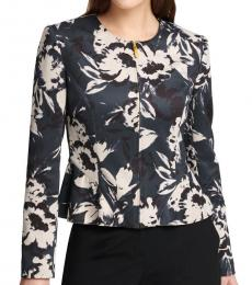 DKNY Multi Color Floral Office Wear Basic Jacket