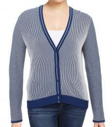 Tory Burch Blue Contrast Trim Textured Cardigan Top