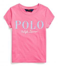 Ralph Lauren Little Girls Baja Pink Logo T-Shirt