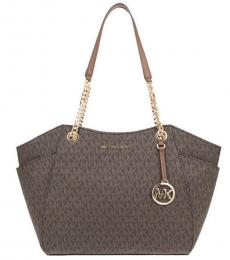 Michael Kors Brown Jet Set Chain Signature Large Tote