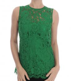 Dolce & Gabbana Green Floral Lace Top