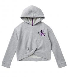 Calvin Klein Girls Light Grey Twist Front Hoodie