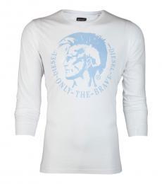Diesel White Graphic Full Sleeves T-Shirt