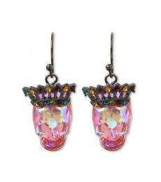 Pink Vivid Crown Skull Earrings
