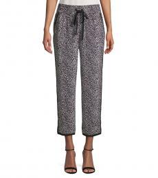 Diane Von Furstenberg Navy Blue Printed Silk Pants