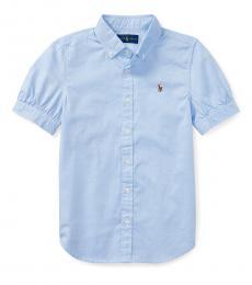 Girls Light Blue Oxford Shirt