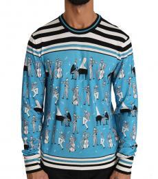 Dolce & Gabbana Blue Silk Music Pullover