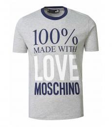 Love Moschino Light Grey Graphic Print T-Shirt