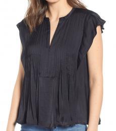 Rebecca Minkoff Black Deandra Pintuck Flutter Sleeve Top