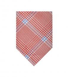 Red Large Check Plad Tie