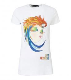 Love Moschino White Crew Neck Casual T-Shirt