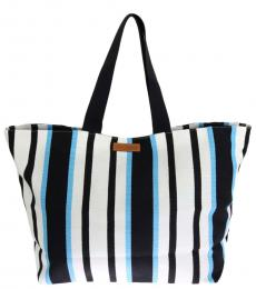Dolce & Gabbana Blue White Striped Large Tote