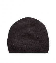 Black Embellished Knit Beanie