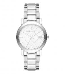 Silver Sunray Large Check Watch