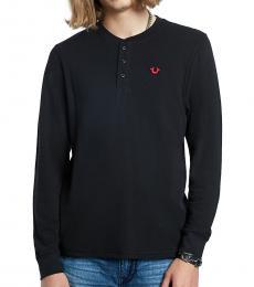Black Long Sleeve Henley T-Shirt