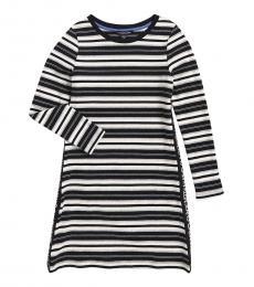 Calvin Klein Girls Anthracite Logo Taping Striped Dress
