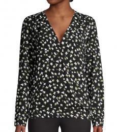 Black Floral Wrap-Style Blouse