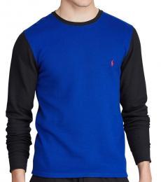 Colorblock Blue Cotton Sweater