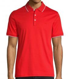Michael Kors Summer Red Short-Sleeve Cotton Polo