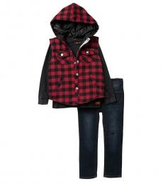 7 For All Mankind 3 Piece Hooded Vest/T-Shirt/Jeans Set (Little Boys)