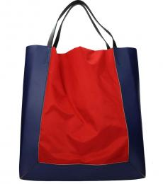 Blue/Bright Red Colorblock Large Tote
