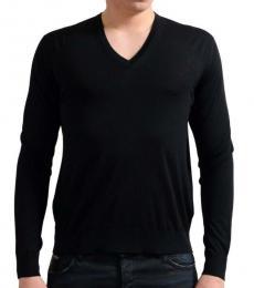 Black V-Neck Pullover Sweater