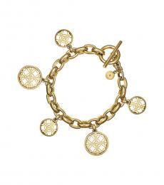 Michael Kors Gold Disc Charm Monogram Bracelet