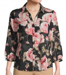 Karl Lagerfeld Black Floral Three-Quarter Sleeve Shirt
