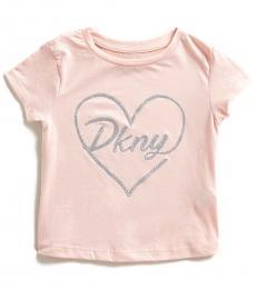 DKNY Little Girls Pink Glitter Heart T-Shirt