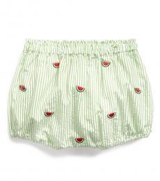Ralph Lauren Baby Girls Green Seersucker Bloomer Shorts
