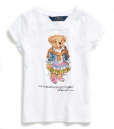 Ralph Lauren Little Girls White Madras Bear T-Shirt