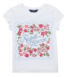 Ralph Lauren Girls White Jersey Graphic T-Shirt