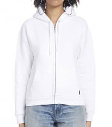 White Zipper Hooded Sweatshirt