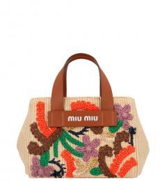 Miu Miu Beige Floral Embroidered Small Satchel