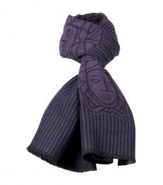 Versace Purple Stripe Fringe Scarf