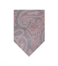 Michael Kors Pink-Grey Stroke Paisley Tie