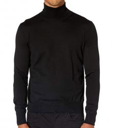 Canali Black Turtleneck Wool Sweater