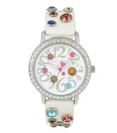 Betsey Johnson White Multi Color Jewels Watch