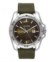 Calvin Klein Khaki Green Earth Nylon Watch