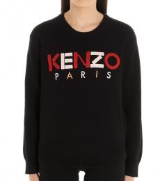 Kenzo Black Logo Embroidered Sweater