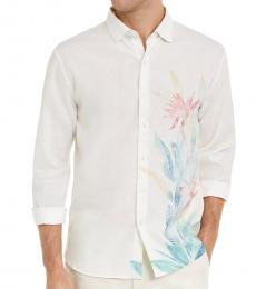 White Classic-Fit Floral-Print Shirt