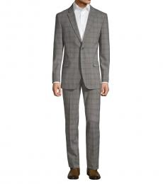 Ben Sherman Grey Slim-Fit Plaid Wool Suit