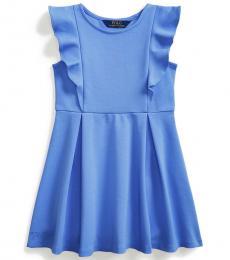 Ralph Lauren Little Girls Blue Ruffled Stretch Ponte Dress