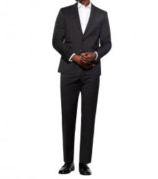 Vince Camuto Black Plaid Slim Fit Wool Suit
