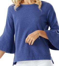 Tommy Bahama Dark Blue Bell Sleeve Knit Top