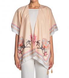 Vince Camuto Peach Floral Border Print Kimono