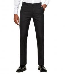 Dark Grey Solid Wool Pants