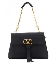 Valentino Garavani Black V Ring Large Shoulder Bag