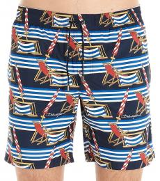 Dolce & Gabbana Navy Blue Printed Swim Shorts