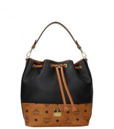 MCM Black/Camel Print Small Bucket Bag